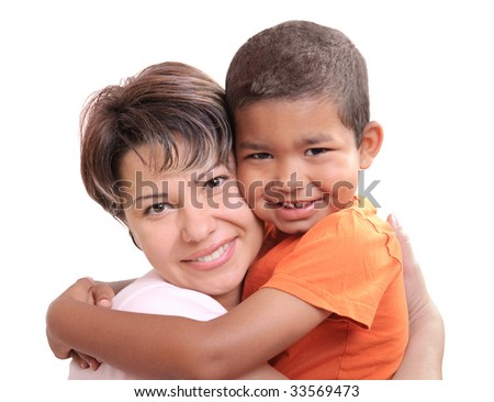 Little African boy  in adoptive mothers arms - stock photo