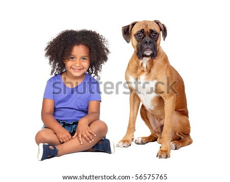 Little African girl and her dog isolated on white background - stock photo