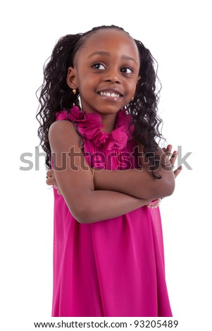 Little african girl with folded arms, isolated on white background