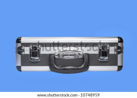 Little aluminum case for sound and video equipment, isolated - stock photo