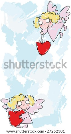 Little angels with hearts - stock photo