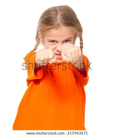 Little angry girl. Child on white background - stock photo