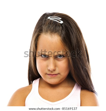 Little Angry Girl Isolated in White Background - stock photo
