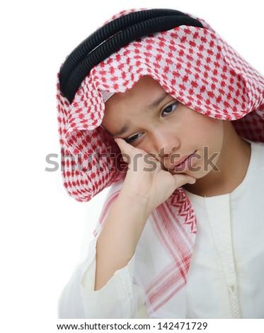 Little Arabian boy portrait - stock photo