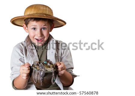 little archaeologist with pot of gold and jewelry - stock photo
