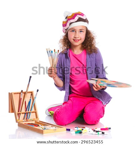 Little artist. Adorable girl with watercolor painting and palette, isolated on white background - stock photo