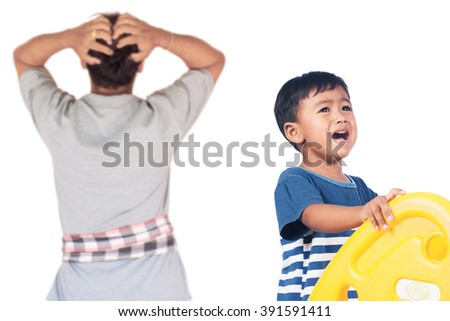 little asian boy angry his father - stock photo