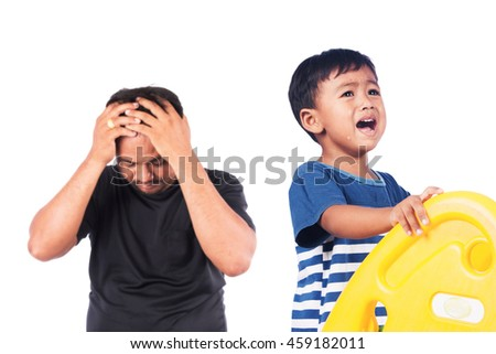little asian boy angry his father,black and white tone - stock photo