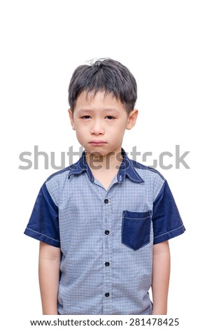 Little Asian boy crying over white background