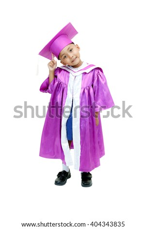 little asian boy in graduation gown .with clipping path. - stock photo