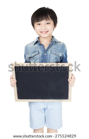Little asian boy playing guitar on white background - stock photo