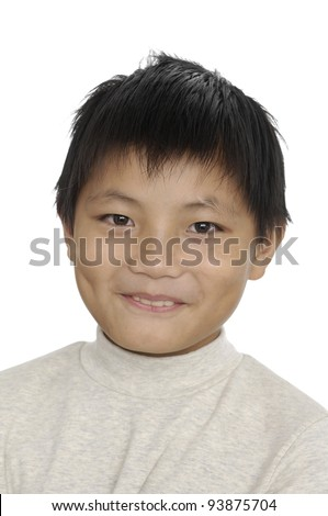 Little asian boy portrait blank expression - stock photo
