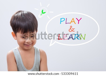 Little Asian boy smiling, Learning through play concept