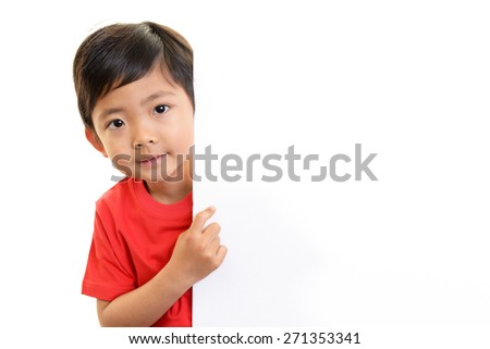 Little Asian boy with a whiteboard