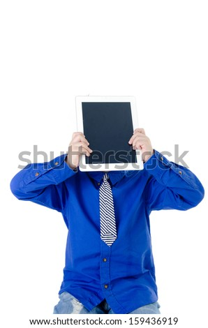 Little asian boy with tablet computer on isolated background