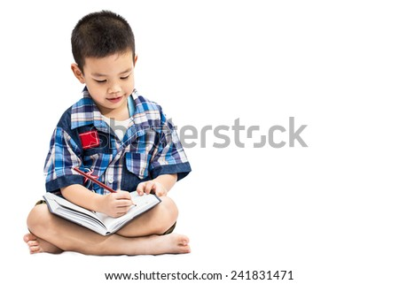 Little asian boy writing book isolated on white background - stock photo
