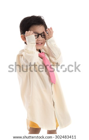 Little asian child pretending to be  business man on white background isolated - stock photo