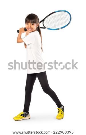 Little asian girl holding tennis racket, Isolated over white - stock photo