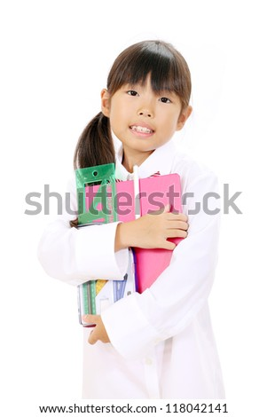 Little asian girl in school uniform with school supplies - stock photo