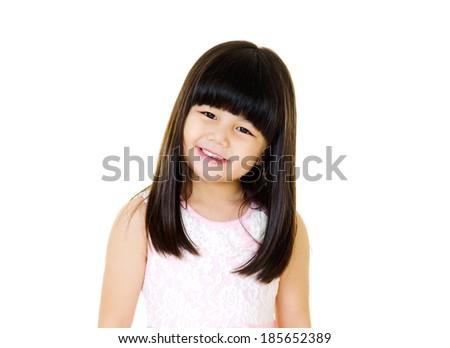 little asian girl portrait isolated on white - stock photo