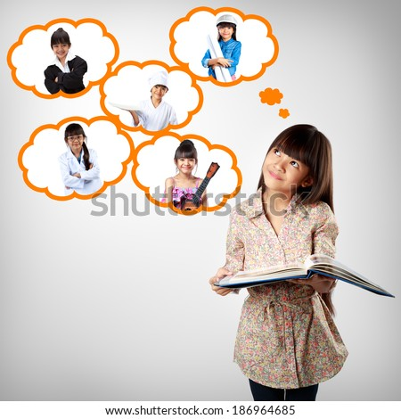 Little asian girl thinking of future education career choice options student - stock photo