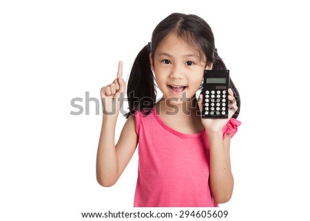 Little asian girl  with a calculator  isolated on white background - stock photo