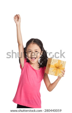 Little asian girl with gift box push her hand up  isolated on white background - stock photo
