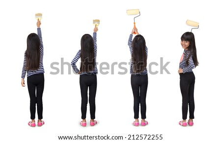 Little asian girl with paint roller, Isolated over white - stock photo