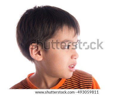Little asian mix arab boy with face side feeling scare