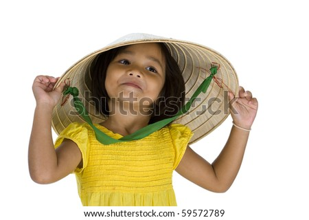little asian uptown girl with vietnamese style hat, isolated on white background - stock photo