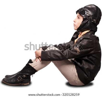 little aviator on white background - stock photo