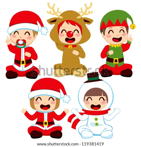 Little babies dressed in adorable Christmas costumes - stock photo