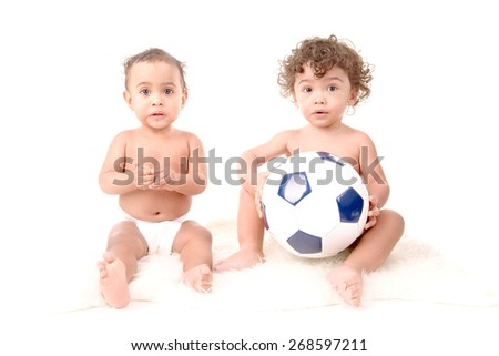 little babies isolated in white background - stock photo