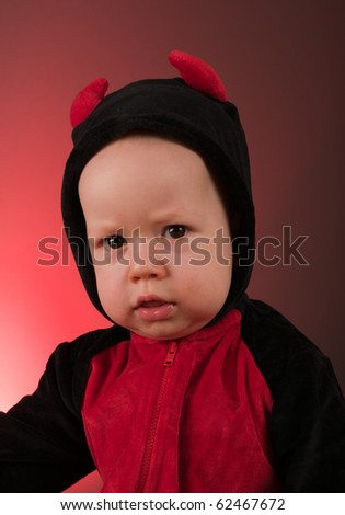 Little baby boy devil - stock photo