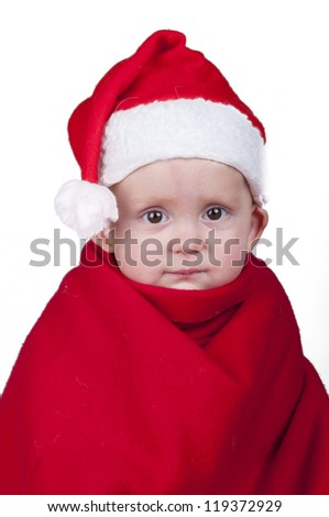 Little baby boy in Santa Claus Christmas outfit - stock photo