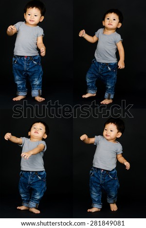 Little Baby Boy Isolated. - stock photo