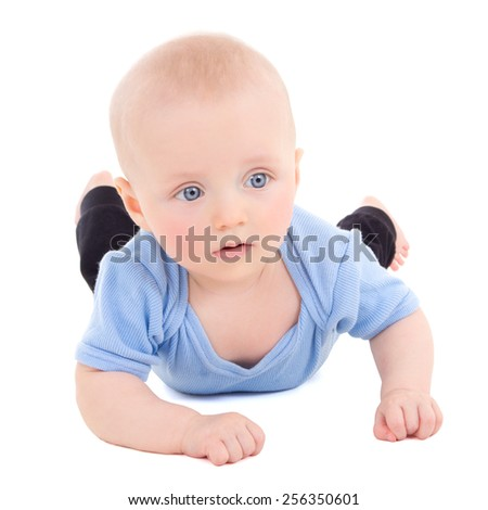 little baby boy with blue eyes isolated on white background