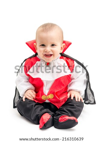 Little baby boy with Dracula costume isolated on white background - stock photo