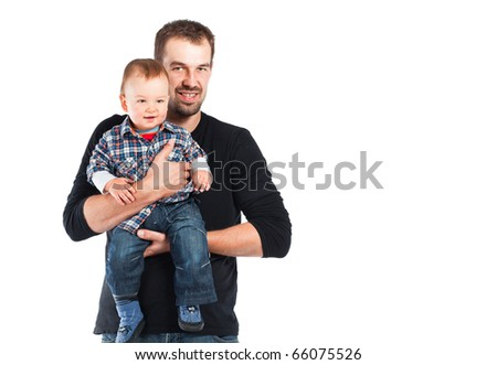 Little baby boy with father. Studio shot. - stock photo