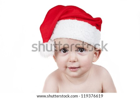 little baby boy with Santa Claus hat for Christmas isolated - stock photo