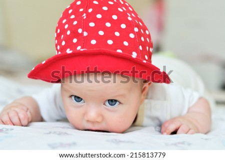 little baby can not keep head yet - stock photo