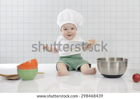 little baby chef, 7 months old