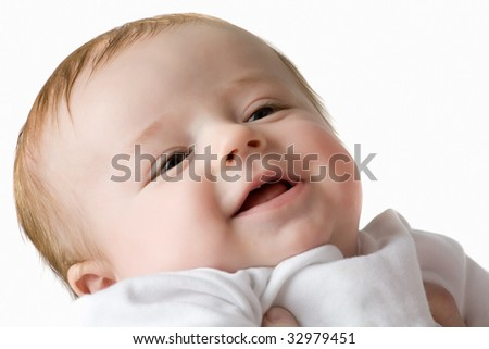 little baby close-up portrait, isolated on white background - stock photo