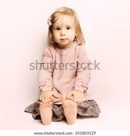 Little baby girl beautiful child (1-2 years)  , - stock photo