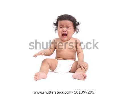 Little baby girl crying on white - stock photo