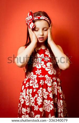 Little baby girl has dizzy - stock photo
