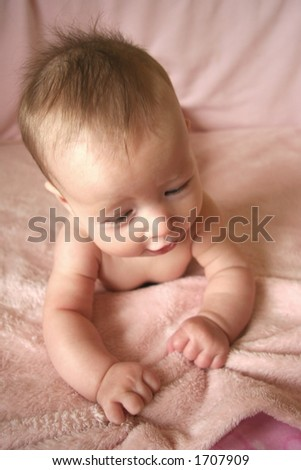 Little Baby Girl on Blanket