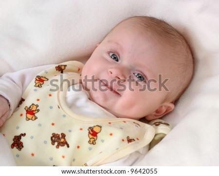Little baby girl smiling - stock photo