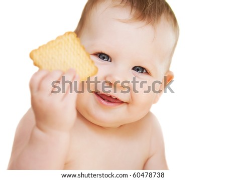 Little Baby Girl with cookies isolated - stock photo