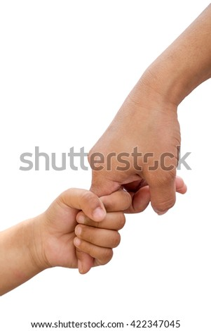 little baby hand holding his mother finger, Isolated on white background.